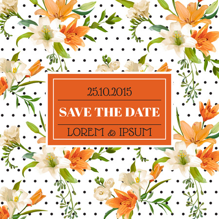 the spouse: Save the Date - Wedding Invitation or Congratulation Card - Vintage Lily Floral Theme - in Vector Illustration