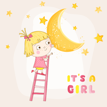 Baby Girl Climbing on a Moon - Baby Shower or Arrival Card - in vector Illustration