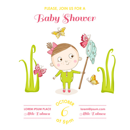 butterfly stationary: Baby Girl with Butterflies - Baby Shower or Arrival Card - in vector
