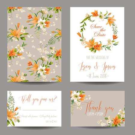 #63053765   Speichern Sie Die Datums Karte   Hochzeit Einladung Set   Herbst Lilien Blumen  Theme   In Vektor