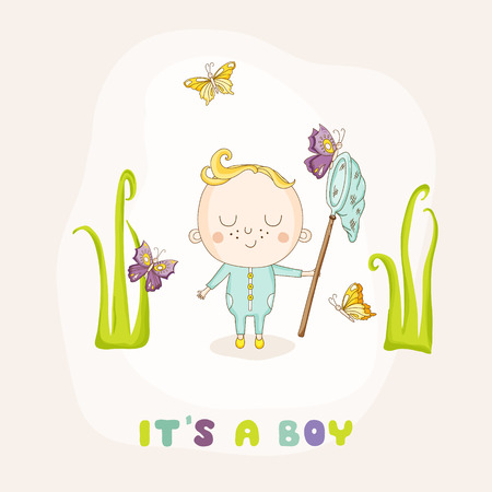 butterfly stationary: Baby Boy Catching Butterflies - Baby Shower or Arrival Card - in vector