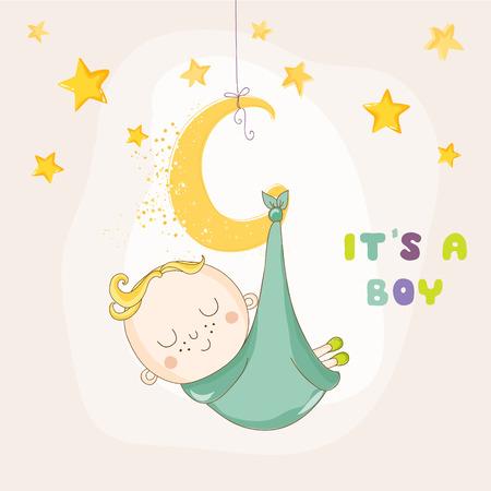niño parado: Del bebé que duerme en una luna - ducha o tarjeta de llegada del bebé - en el vector