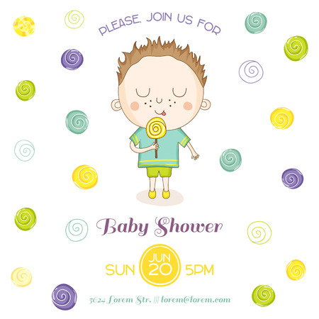 niño parado: Ducha o tarjeta de llegada del bebé - bebé con un caramelo - en el vector Vectores