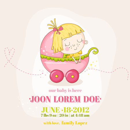 Cute Baby Girl in a Carriage - Baby Shower or Arrival Card - in vector