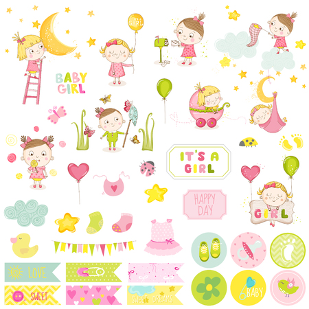 cute baby girl: Cute Baby Girl Scrapbook Set. Vector Scrapbooking. Decorative Elements. Baby Tags, Labels, Stickers, Notes. Illustration