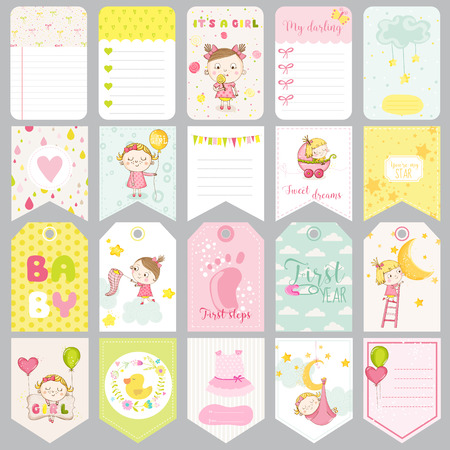 cute cards: Cute Baby Girl Tags. Baby Banners. Scrapbook Labels. Cute Cards. Vector Design Elements.