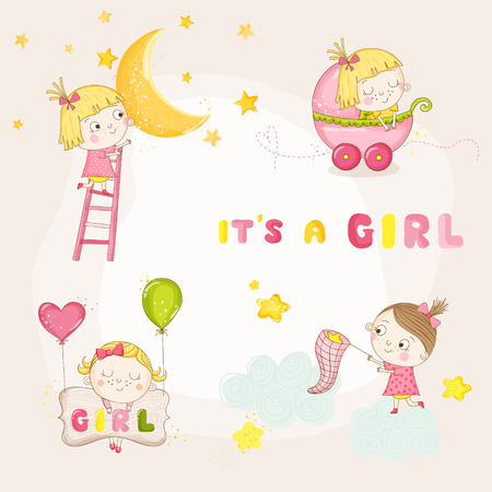 cute baby: Set of Cute Baby Girl Illustrations - for Baby Shower or Arrival Card - in vector Illustration