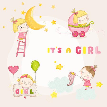 Conjunto de lindo de la niña de Ilustraciones - para la ducha de bebé o tarjeta de llegada - en el vector