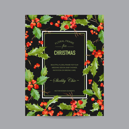 berry: Vintage Holy Berry Christmas Card - Winter Background Illustration