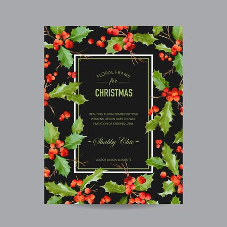 Vintage Holy Berry Christmas Card - Winter Background Vektorové ilustrace