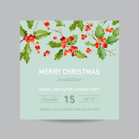 Vintage Holy Berry Christmas Card - Winter Background Invitation or Congratulation Card