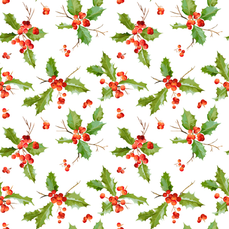 christmas decor: Vintage Holy Berry Background - Seamless Christmas Pattern