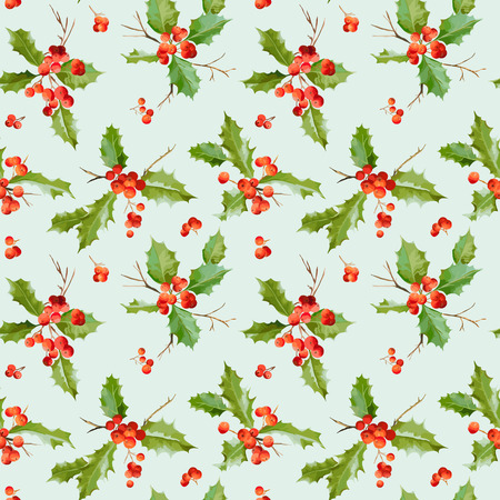 holy leaves: Vintage Holy Berry Background - Seamless Christmas Pattern