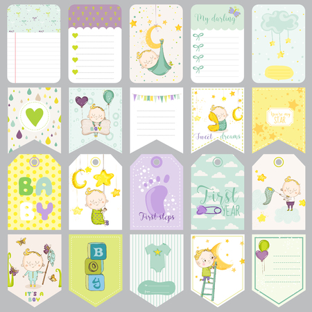 cute cards: Baby Boy Tags. Baby . Scrapbook Labels. Cute Cards. Design Elements.