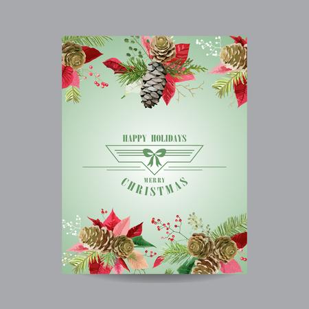 Weinlese-Poinsettia-Weihnachtskarte - Winter-Hintergrund