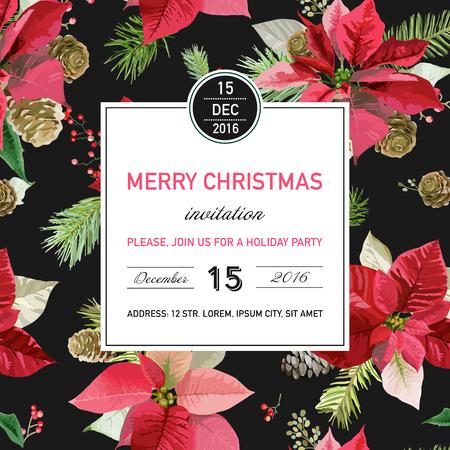 Invitación de la Navidad del Poinsettia de la vendimia - Fondo de invierno, carteles, diseño