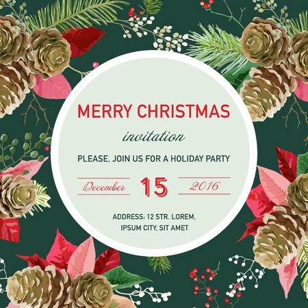 Vintage Poinsettia Christmas Invitation Card - Winter Background, Poster, Design Vector Illustration