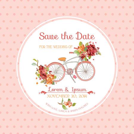 Uitnodiging of felicitatie kaart - voor bruiloft, babydouche - Vintage Hortensia bloementhema
