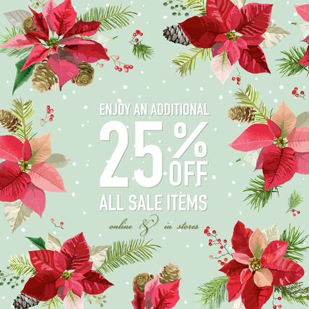 Christmas Sale Poster - with Winter Poinsettia Flowers