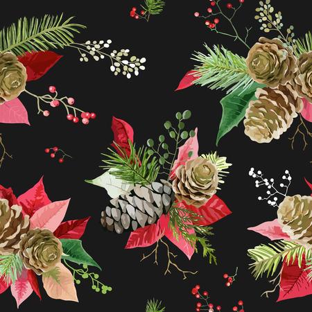 Vintage Poinsettia Flowers Background - Seamless Christmas Pattern