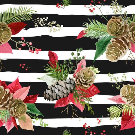 Vintage Poinsettia Flowers Background - Seamless Christmas Pattern Vektorové ilustrace