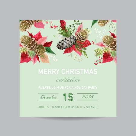 winter background: Christmas Invitation Pine and Poinsettia Card - Winter Background in Watercolor Style Illustration