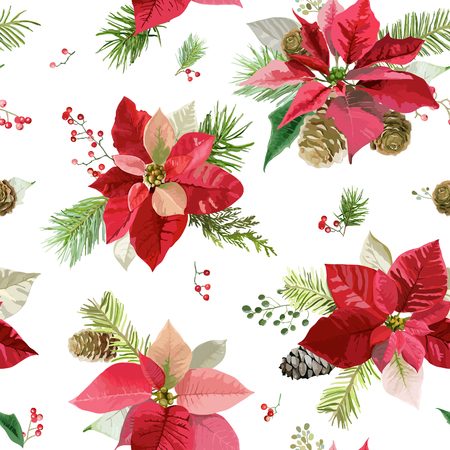hollyberry: Vintage Poinsettia Flowers Background - Seamless Christmas Pattern