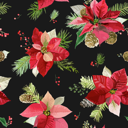 scraps: Vintage Poinsettia Flowers Background - Seamless Christmas Pattern