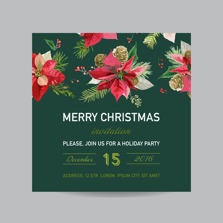 Christmas Invitation Poinsettia Card - Winter Background in Watercolor Style
