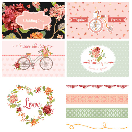 scrapbook: Scrapbook Design Elements - Wedding Party Hortensia Flowers and Bicycle Theme