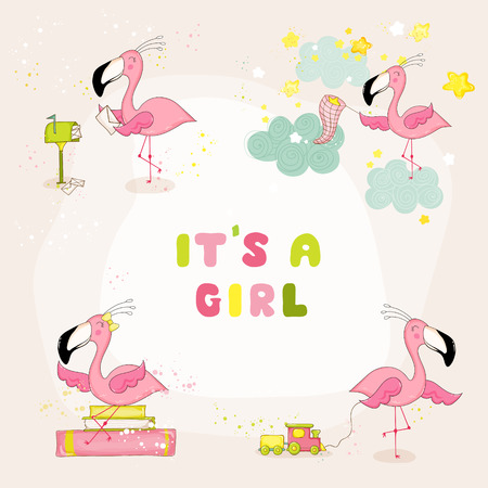 arrival: Baby Flamingo Set - Baby Shower or Arrival Card - in vector