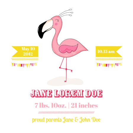 arrival: Baby Shower or Arrival Card - Baby Flamingo Girl - in vector