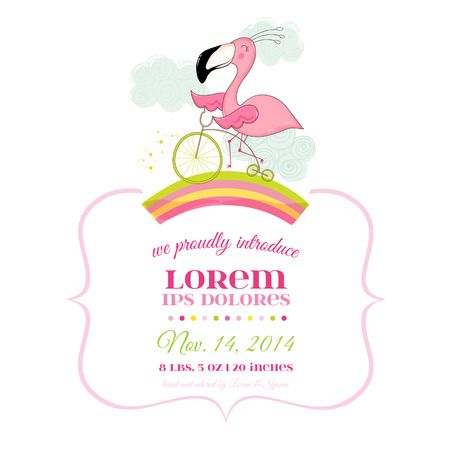 Baby Shower or Arrival Card - Baby Flamingo Girl on a Bike - in vector