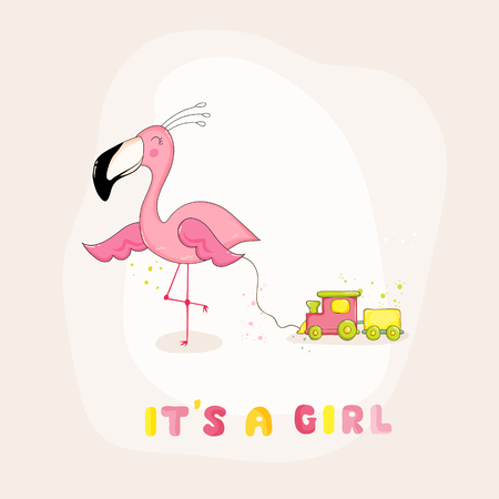 Baby Shower or Arrival Card - Baby Flamingo Girl - in vector