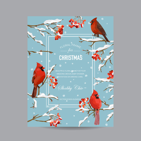 Winter Birds and Berries Frame or Card - in Watercolor Style - vector Illustration