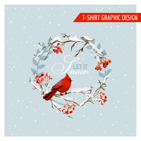 Christmas Winter Birds and Berries Graphic Design - for t-shirt, fashion, prints - in vector