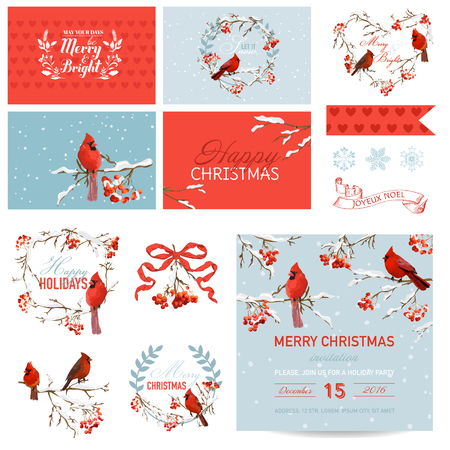 Elementos de diseño de bloc de notas - Vintage Christmas Birds and Berry Theme - en vector