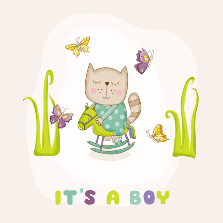 Baby Cat on a Horse - Baby Shower or Arrival Card - in vector Illustration