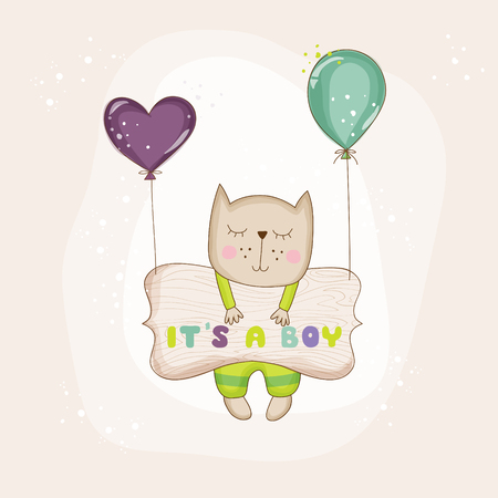 Baby Cat with Balloons - Baby Shower or Arrival Card - in vector Illustration