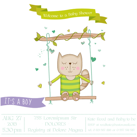 arrival: Baby Shower or Arrival Card - Baby Cat - in vector