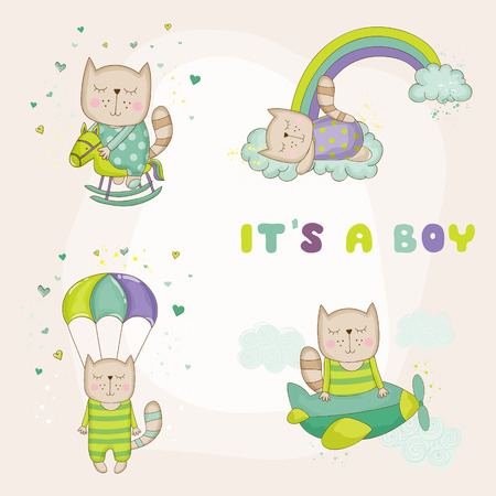 arrival: Baby Cat Set - Baby Shower or Arrival Card - in vector