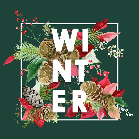 retro christmas: Winter Christmas Design in Vector. Winter Flowers with Pines Retro Background. T-shirt Fashion Graphic.