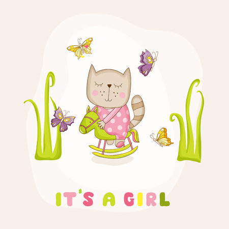 Baby Girl Cat on a Horse - Baby Shower or Arrival Card - in vector Illustration