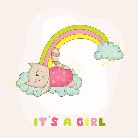 Baby Cat Girl Sleeping on a Rainbow - Baby Shower or Arrival Card - in vector