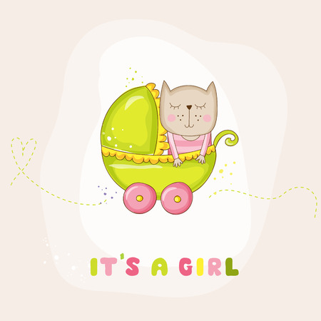 cute baby girl: Cute Baby Girl Cat in a Carriage - Baby Shower or Arrival Card - in vector