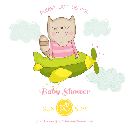 Baby Shower or Arrival Card - Baby Girl Cat Flying on a Plane - in vector