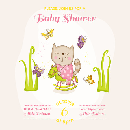 butterfly stationary: Baby Girl Cat on a Horse - Baby Shower or Arrival Card - in vector Illustration