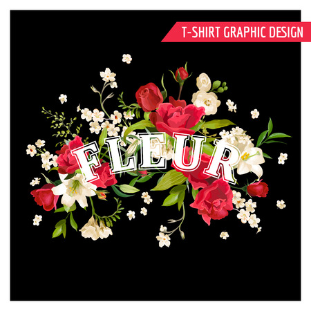 lily flowers set: Floral Rose and Lily Graphic Design for t-shirt, fashion, prints in Vector