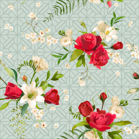 lily flowers: Vintage Rose and Lily Flowers Background. Spring and Summer Seamless Pattern in Vector