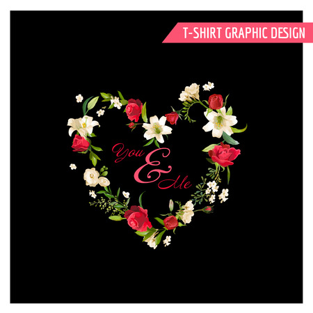 lily flowers: Vintage Floral Graphic Design. Summer Rose and Lily Flowers for T-shirt, Fashion, Prints. in Vector Illustration